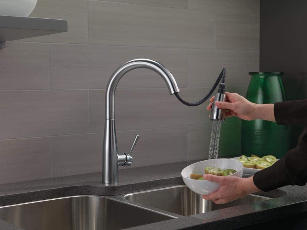 delta faucet essa pull down kitchen faucet with pull down sprayer kitchen sink faucet faucets for kitchen sinks single handle magnetic docking