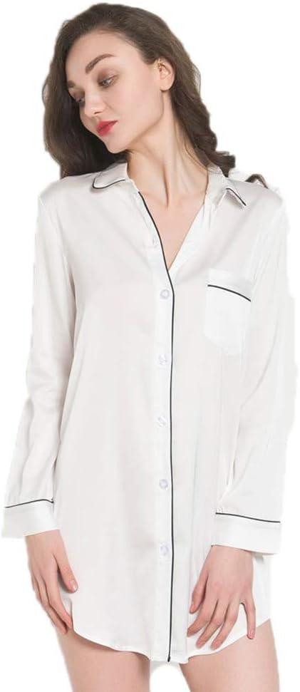 Camisa de Noche de Mujer, Pijama de Manga Larga de Las señoras, Ropa de Dormir de Las Mujeres, Pijama de Las Mujeres Nightwear Sleepwear para Todas Las Temporadas,White,L: Amazon.es: Deportes y aire