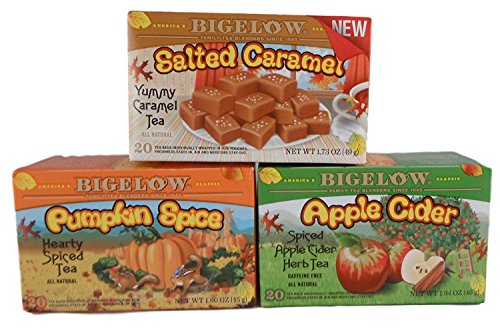 Bigelow Fall Flavors Bundle of 3 Teas: One Box Each Pumpkin Spice, Salted Caramel, and Apple Cider