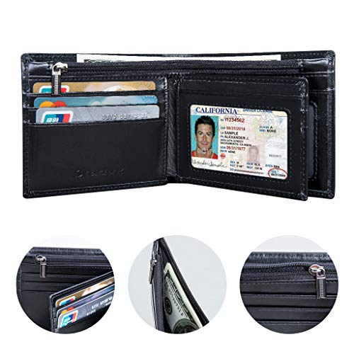 RAS WALLETS Mens RFID Blocking Soft Genuine Leather Bifold Wallet with A Side Zipper Coin Pouch 42