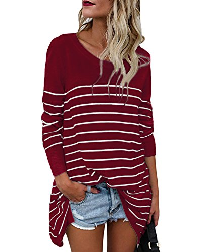 CNFIO Womens Long Sleeve Striped Tops Tunic Shirt Loose Fit Oversized Blouses Tops