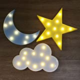 Decorative Led Marquee Sign - Skyfair Crescent Moon,Star,Cloud Decor Signs Hanging Nursery Night Light Table Lamp for Children Kids' Bedroom Home Decorations (SET of 3 - STAR & MOON & CLOUD)