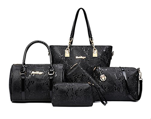 Yan Show Women's Shoulder Bags Totes Patent Leather Handbags With Matching Wallet Purse 5 Pieces Set /Brown Black
