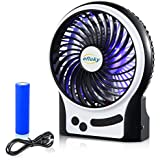 Efluky 3 Speed Mini Handheld Fan, Mini Portable Fan Electric USB Fan with LED Light and Rechargeable 2200mAh Battery, Mini handheld fan quiet for office, beach and camping fan,4.5-Inch, Black