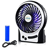 efluky 3 Speed Mini Portable Fan, Mini Handheld Fan Electric USB Fan with LED Light and Rechargeable 2200mAh Battery, Mini Handheld Fan Quiet for Office, Beach and Camping Fan,4.5-Inch, Black