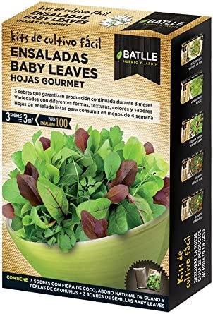 Batlle Huerto Urbano - Ensaladas Baby leaves Hojas Gourmet: Amazon ...