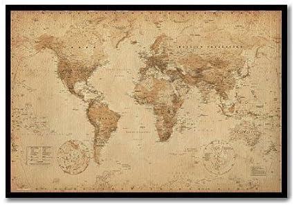 Póster de mapa del mundo Ye pergamino antiguo Pin de corcho tablón ...