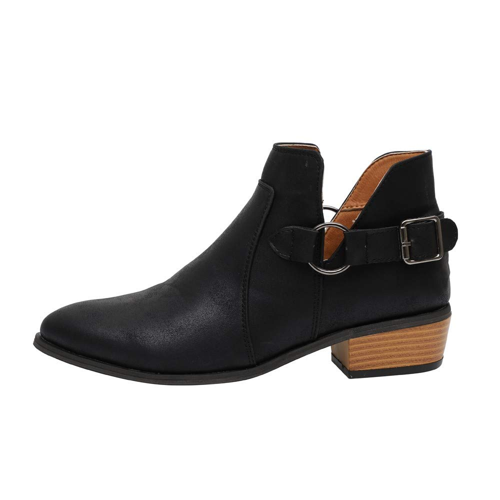 LONGDAY ⭐ Ankle Boots Pointed Toe Faux Leather Stacked Low Heel Slip On Booties Highline Chelsea Boot PU Chukka Boot Black