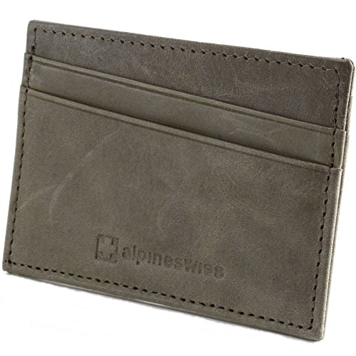 alpine swiss Men's Front Pocket Wallet Minimalist Super Thin 5 Card Genuine Leather, Gray, One Size