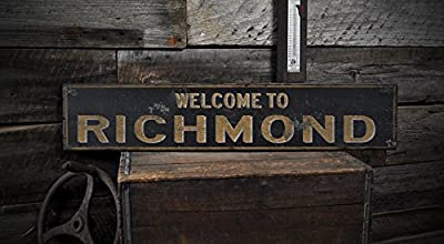 Welcome to RICHMOND, KENTUCKY - Rustic Hand-Made Vintage US City Wooden Sign