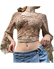 Dames Y2k Lange Mouw Top Button Down Mesh See Through Cardigan Tie Up Cropped E-Girl Blouse Streetwear, BRON, S