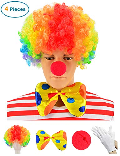 Party Chili Clown Costume - Clown Wig + Clown Nose + Bow Tie + White Gloves Set of 4 (Rainbow) ()