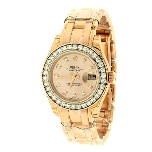 Ladies Rolex Datejust Champagne Dial 18K Pink Gold Automatic Watch 179175CRJ