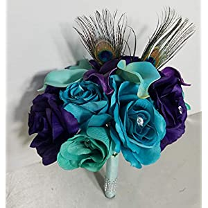 Peacock Aqua Teal Purple Rhinestone Rose Lily Bridal Wedding Bouquet & Boutonniere 79