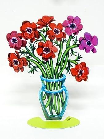 David Gerstein Metal Modern ART Sculpture Poppies \ Anemones Flower Vase
