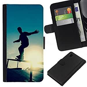 All Phone Most Case / Oferta Especial Cáscara Funda de cuero Monedero Cubierta de proteccion Caso / Wallet Case for Sony Xperia Z1 L39 // Skate Sunset