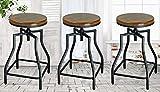 24 Swivel Bar Stools eHemco 24-29'' Adjustable Swivel Metal Barstool with Wood Veneer Seat (3)