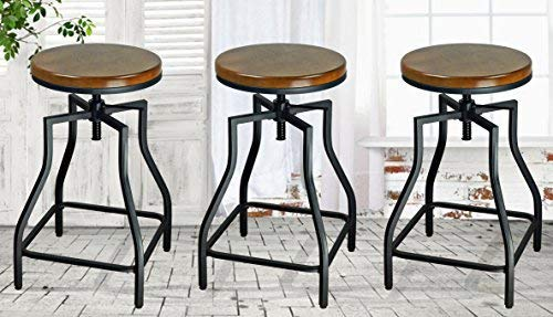 (eHemco 24-29'' Adjustable Swivel Metal Barstool with Wood Veneer Seat (3))