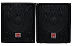 "(2) Rockville SBG1154 15"" Passive Pro DJ Subwoofers Totaling 1600 Watt w/ MDF Cabinet, Molded Steel Grill, and Pole Mount by Rockville"