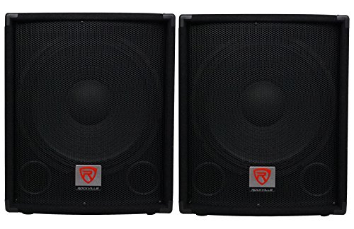 (2) Rockville SBG1154 15'' Passive Pro DJ Subwoofers Totaling 1600 Watt w/ MDF Cabinet, Molded Steel Grill, and Pole Mount by Rockville