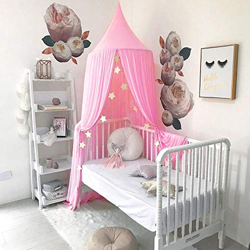 (Tasera Bed Canopy, Mosquito Net Canopy Yarn Play Tent for Kids Playing Reading with Children Dome Netting Curtains Baby Boys and Girls Indoor Games House (Pink))