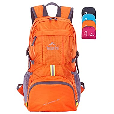 Venture Pal Ultralight Lightweight Packable Foldable Waterproof Travel Camping Hiking Outdoor Sports Backpack Daypack + Lifetime Warranty Orange