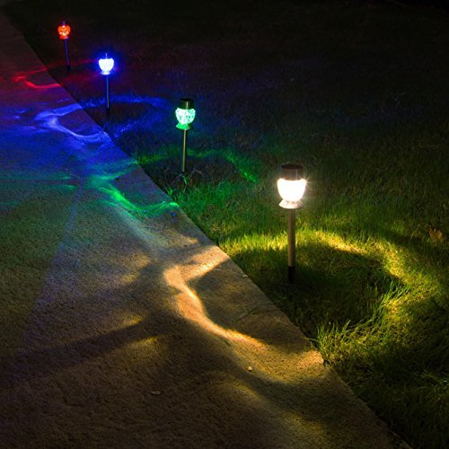 Sogrand Solar Lights Outdoor Pathway Decorative Garden Stake Light Upgraded 4 Color LED Bright Decorations Stainless Steel Stakes for Patio Outside Landscape Walkway 4Pack