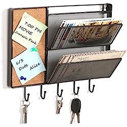 MyGift Black Mesh Metal Wall Mounted Storage Rack/Hanging Mail Sorter w/Cork Board & 5 Key Hooks