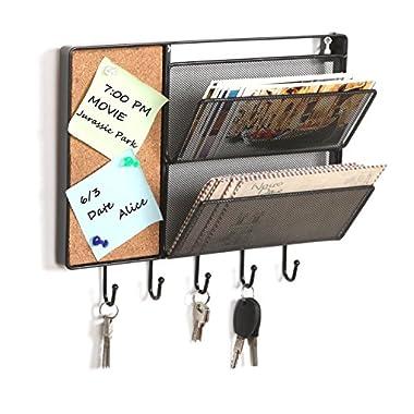 Black Mesh Metal Wall Mounted Storage Rack / Hanging Mail Sorter w/ Cork Board & 5 Key Hooks - MyGift