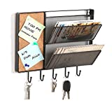 Black Mesh Metal Wall Mounted Storage Rack / Hanging Mail Sorter w/ Cork Board & 5 Key Hooks - MyGift
