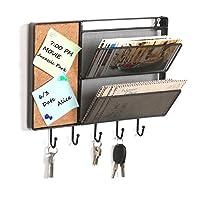 Black Mesh Metal Wall Mounted Storage Rack / Hanging Mail Sorter w/ Cork Board & 5 Key Hooks - MyGift®