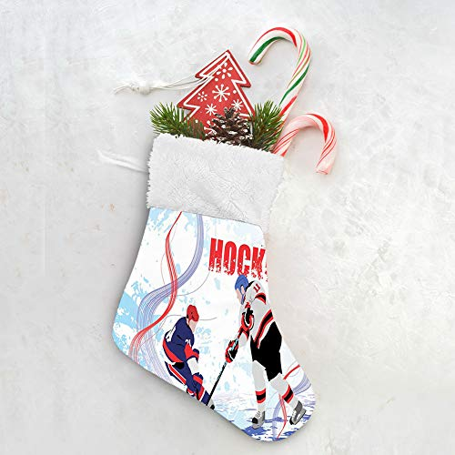GULTMEE Lovely Christmas Stocking Set of 6 Santa Hanging Decoration Holiday Ornaments Home Decor Toys Candy Gift Bag, Two Ice Hockey Players in Cartoon Style on Grunge Abstract Skating Rink Backdrop
