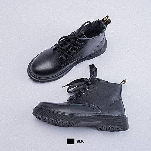 Shukun Stiefeletten Herbst und Winter Studenten Schwarz Martin Ankle Stiefel Damen Retro High-Top Flache Schuhe