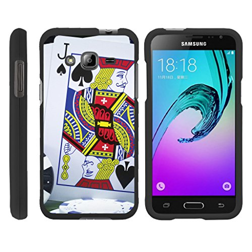 (TurtleArmor | Compatible for Samsung Galaxy J3 Case | Amp Prime | Express Prime [Slim Duo] Ultra Compact Hard Snap On Case Slim Matte Cover on Black Gamble Casino - Blackjack)