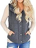 Doubleal Women Quilted Puffer Fleece Vest for Lightweight Drawstring Jacket with Zipper