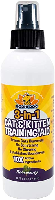 3-in-1 Cat & Kitten Training Aid with Bitter | 8 oz Cat Repellent Spray for Indoor and Outdoor Use | Anti Scratch Furniture Protector | Establish Boundaries & Keep Cat Off | Made in The USA