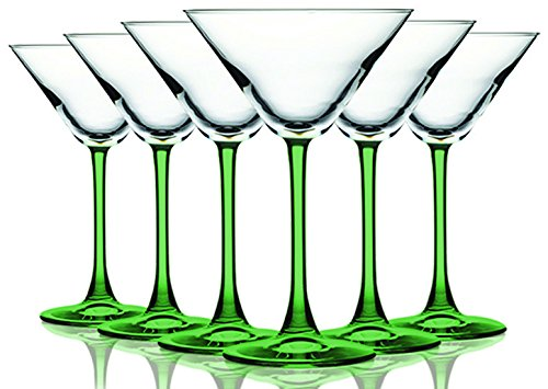 Light Green Accent Stem 10 oz Martini/Cocktail Glasses - Set of 6 by TableTop King - Additional Vibrant Colors Available (Green Martini Glasses)
