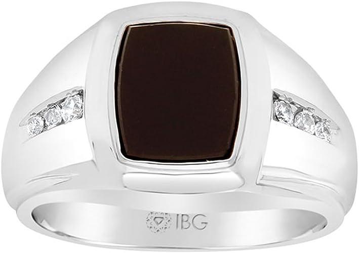 IBG Mens Sterling Silver Onyx Ring