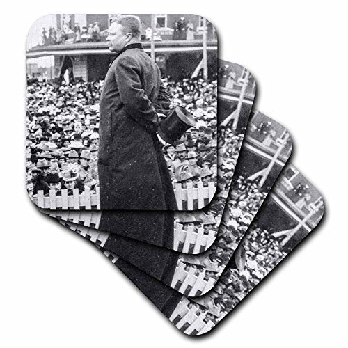 Scenes from the Past Stereoview - Teddy Roosevelt Abilene Kansas 1903 Vintage Stereoview Black and White - set of 8 Coasters - Soft (cst_240513_2) - Abilene Furniture Set