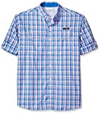 Columbia Men's Super Low Drag Long Sleeve Shirt, Vivid Blue Plaid, Large