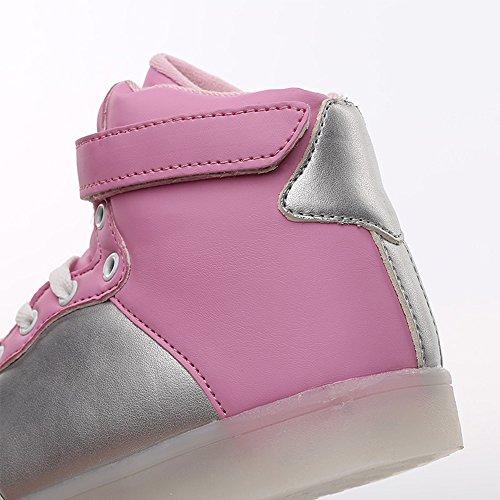 Idea Cornici Kid Ragazza Ragazza Usb Ricarica Multicolore Led Sneakers Luce Alta Top Rosa / Argento