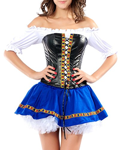 IF FEEL Womens Halloween Costume Party Queen Princess Role Play Costume Sets (L, LC8617)