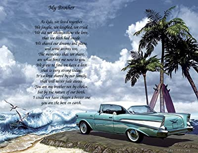 "Personalized Poetry Gift ""My Brother"" on 57 Chevy Background"