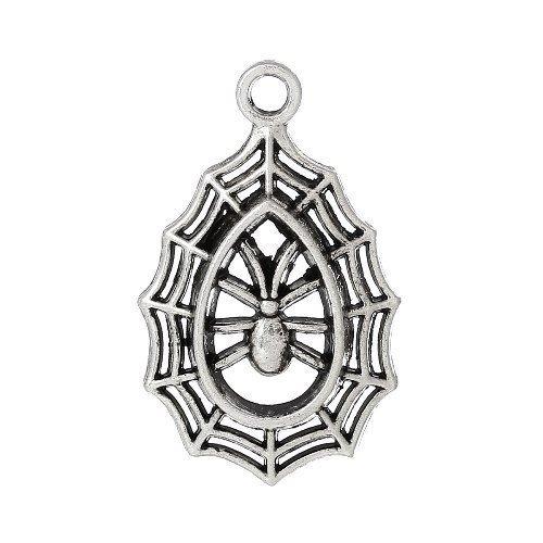 Paquet 3 x Argent Antique Tibétain 21mm Breloques Pendentif (Toile D'Araignée) - (ZX05135) - Charming Beads
