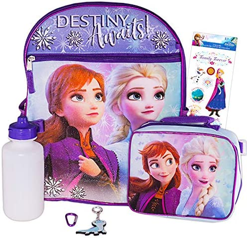 Disney Frozen Backpack Set for Girls  5 Pc Deluxe 16 Frozen BackpackLunch Bag Stickers and More (Frozen School Supplies)