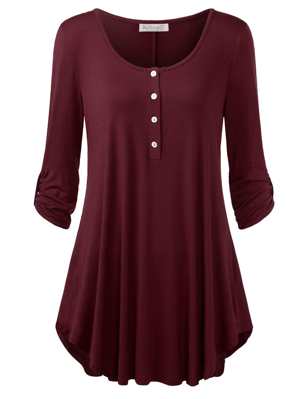 BaiShengGT Women's 3/4 Sleeve Button up Loose Fit Swing Tunic Tops T Shirt Purplish Red Large