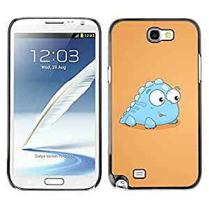 Design for Girls Plastic Cover Case FOR Samsung Note 2 N7100 Little Dinosaur Light Blue Creature Cartoon Art OBBA