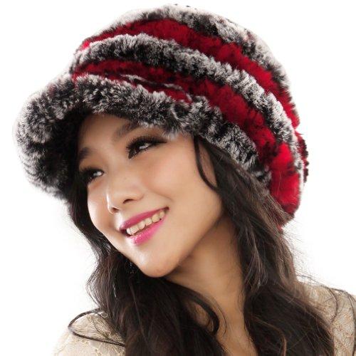 URSFUR Fashion Women's Real Rex Rabbit Fur Peaked Caps Hats Spiral (Hat Rex Rabbit)
