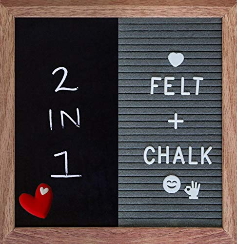 Double Chalkboard Sided Reversible (Felt Letter Board Double Sided Changeable Messages Chalk Board (2-in-1) Display Stand Chalk Marker and Accessories (Grey))