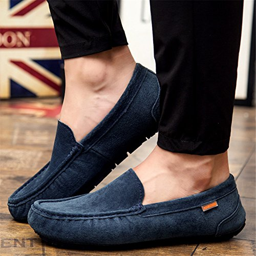Leather Flats Moccasins On Suede Slip Loafers Boat Shoes SHELAIDON Men's Navy AxZRqp